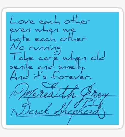 Grey's Anatomy: Derek & Meredith's Vows Post It Note Sticker