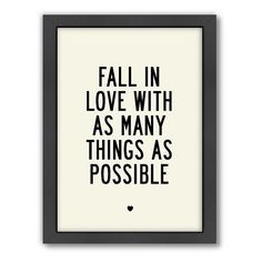 Americanflat Motivated Type ''Fall In Love'' Framed Wall Art, Multicolor