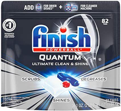 Amazon Com Finish Quantum 82ct Dishwasher Detergent Powerball Ultimate C In 2020 Best Dishwasher Detergent Dishwasher Detergent Dishwasher Detergent Tablets
