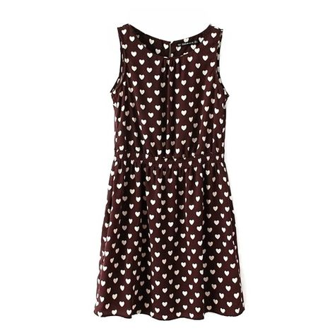 1de72dd40174 Chocolate Background White Heart Print Cute Style Sleeveless Dress ( 13) ❤  liked on Polyvore featuring dresses