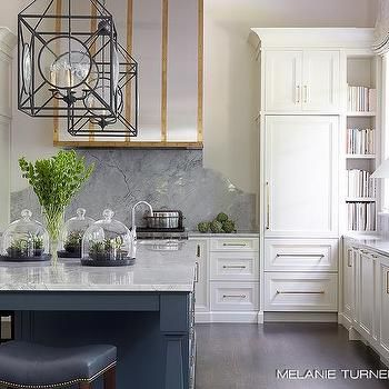 Gray Kitchen Island With Brass Counter Stools Transitional Kitchen Grey Kitchen Island Melanie Turner Interiors Curved Kitchen