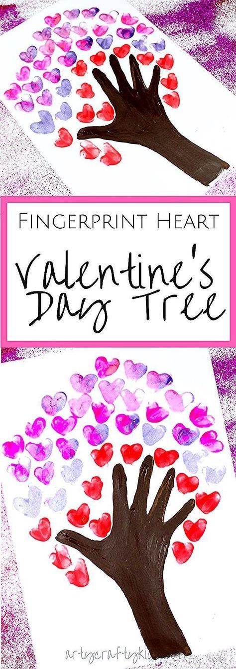 Arty Crafty Kids | Valentinstag Basteln für Kinder | Fingerabdruck Herz Valentinstag -  - #Arty #Basteln #Crafty #Fingerabdruck #für #Herz #Kids #Kinder #Valentinstag #diy basteln valentinstag