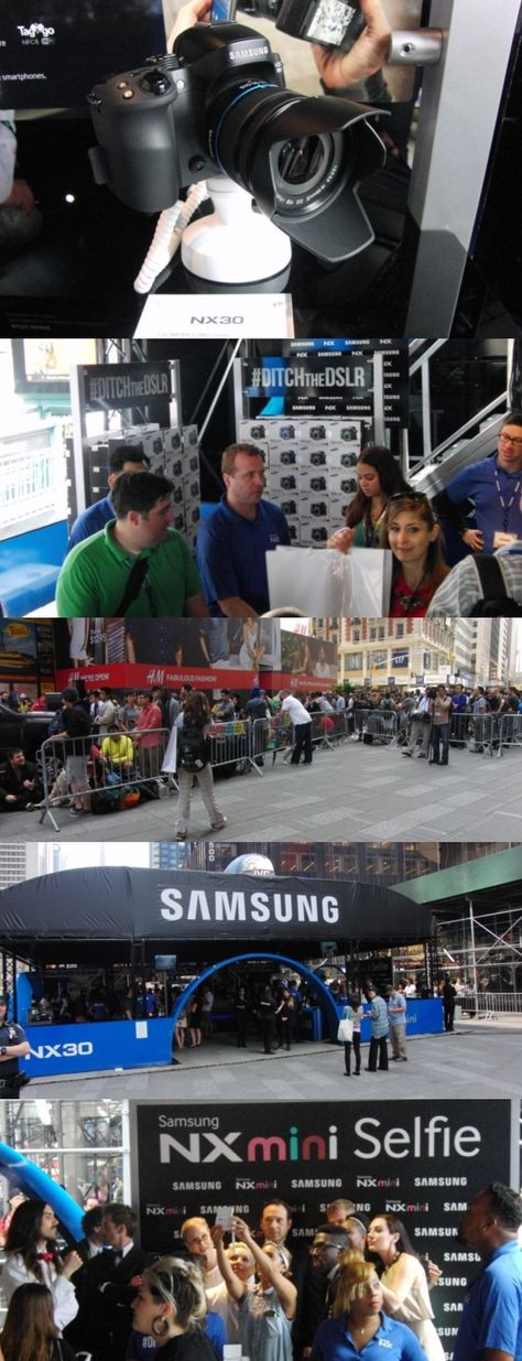 Psst! Want a Samsung NX30 SMART Camera? Well you're too late to come to Times Square, where @Samsung Camera let the first 250 in line at its June 4 Ditch the DSLR event trade in their qualifying DSLRs for a new NX30. The lightweight 20.3 megapixel camera has shutter speeds down to 1/8000 second, a bright, swiveling touchscreen and a tilting viewfinder. It can zap your photos to your phone or tablet via Wi-Fi or with one tap via NFC (near field communication). $1,000 #DITCHtheDSLR #NYC