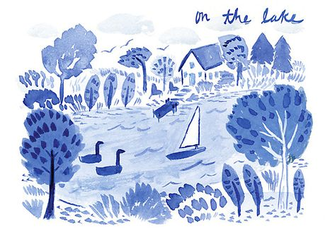 We love illustrator Bella Foster's take on summer at the lake!