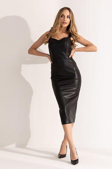 Askili Deri Kalem Abiye Siyah Kadin Giyim Moda Stilleri Giyim