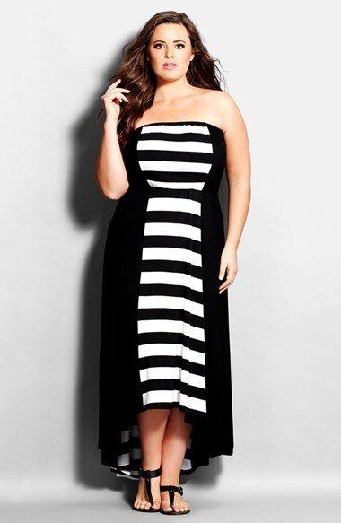 Plus Size Strapless High/Low Maxi Dress | Plus Size Fashion | Plus ...