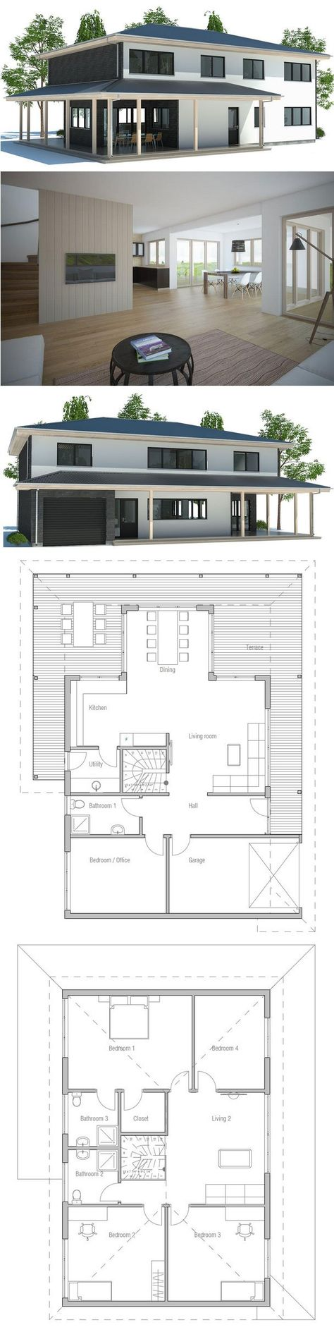 Modern House with large covered terrace. Two floors, family room on the second floor, garage.