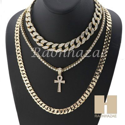 14k Gold Pt Ankh Cross Iced Out Miami Cuban 16 30 Choker Tennis Chain S040 Hiphopringsdiamond Gold Chains For Men Chains For Men Gold Chain Jewelry