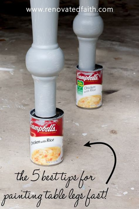 Paint Curved Furniture Legs the Easy Way – Spindles and milled furniture legs can be time consuming and easily drip paint. This simple tutorial shows you how to stain table legs and paint them in the color of your choice. Learn how to paint table legs and