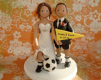 Wedding Cake Topper Custom Bride And Groom With Little Boy Beach Theme Soccer Ball Camera Personalized Polymer Clay