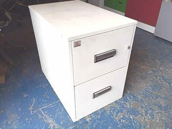 Chubb Fire Resistant Filing Cabinet In Cream Finish Used Office