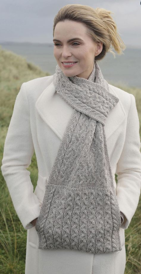 Carraig Donn Knitwear Pull Through Scarf (Oatmeal) Clothing Accessories at Irish on Grand – Knitting world Knit Or Crochet, Crochet Scarves, Crochet Shawl, Crochet Crafts, Crochet Clothes, Crochet Hooded Scarf, Loom Knitting, Knitting Stitches, Knitting Patterns