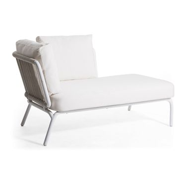 Buy Yland Chaise Lounge With Cushion Fabric: Canvas Natural, Finish: White  / White