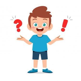 Happy Cute Little Kid Boy With Question Mark Kids Graphics Kids Cartoon Characters School Illustration