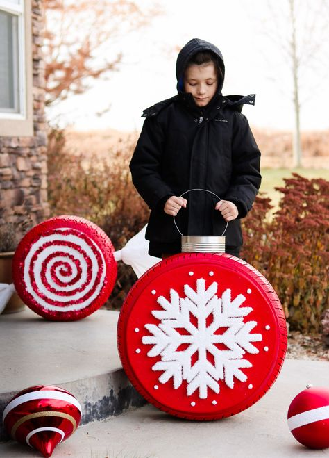 Christmas Tire Ornaments | Giant for Outdoor | Porch | Front Yard