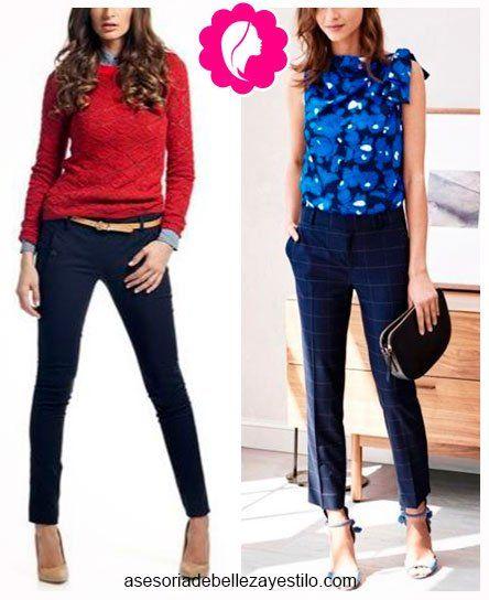 Como Combinar Un Pantalón Azul Marino De Mujer Con Azul Y Rojo Combinar Pantalon Azul Pantalones Azul Marino Pantalón Azul