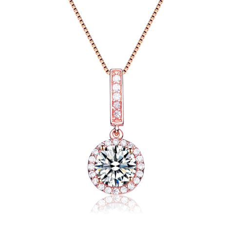 Collette Z Rose Gold Overlay Cubic Zirconia Solitaire Necklace (CZ Necklace), Women's, Size: 18 Inch, Pink