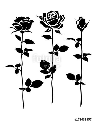 Vector Decorative Set Of Rose With Long Stem Vector Flower Silhouette Flower Silhouette Vector Flowers Rose With Stem Drawing