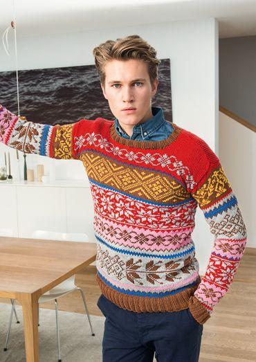 Herren Pulli Dieser Norweger Vereint Ganz Gekonnt Ein Maximum An Farben Und Mustern Und Wird So Zu Eine Norweger Pullover Herren Herrenpullover Pullovermuster