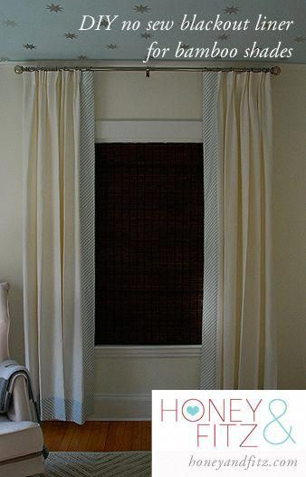 Blackout Liner For Bamboo Window Shades Honey And Fitz Windowtreatmentideas Diy Blackout Curtains Bamboo Shades Diy Window