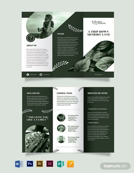 Editable Funeral Service Tri-Fold Brochure Template [Free JPG] - Illustrator, InDesign, Word, Apple Pages, PSD | Template.net