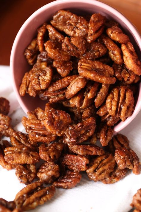 My Easy Candied Pecans Recipe is the perfect sweet and salty snack, gift, or salad topper! These are quick to make and the perfect garnish for sweet and savory dishes! #cookiesandcups #candiedpecans #glazedpecans #pecanrecipe #candiednuts #candiednuts
