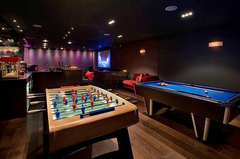 Luxury man cave game room bar man cave in 2019 бильярдная, игровая комната, Garage Game Rooms, Game Room Basement, Basement Ideas, Basement Designs, Garage Ideas, Playroom, Home Entertainment, Home Design, Games Room Inspiration