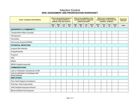 Infection Control Risk Assessment Worksheet  Worksheets