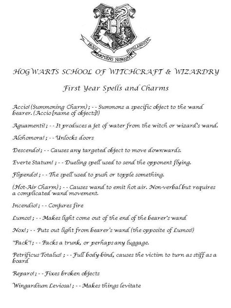 photograph about Harry Potter Spell List Printable called Pinterest