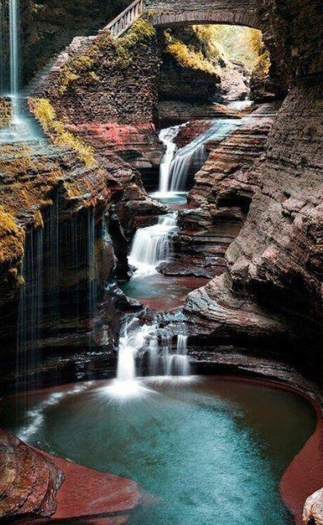 Inspiration For Landscape photography Picture Description Rainbow Falls at Watkins Glen State Park south of Seneca Lake in Schuyler County, New York Beautiful Islands, Beautiful Places, State Parks, Places To Travel, Places To See, Great Smoky Mountains, Puerto Rico Trip, San Juan Puerto Rico, Watkins Glen State Park