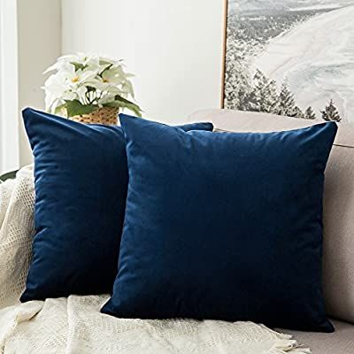 Amazon Com Miulee Pack Of 2 Velvet Soft Soild Decorative Square Throw Pillow Covers Set Cushion Case For Blue Throw Pillows Sofa Pillows Couch Throw Pillows