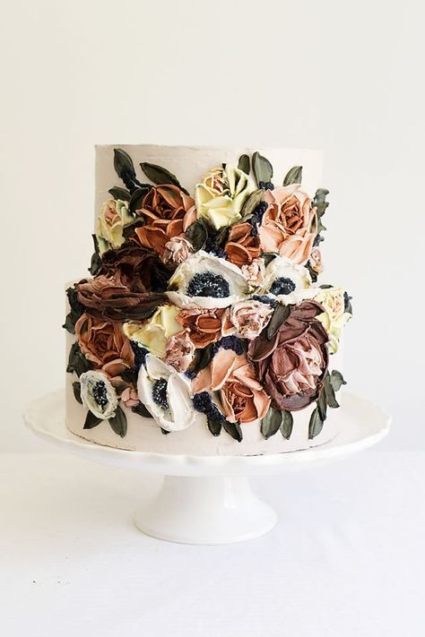 Mauve tones make this wedding cake a real stunner! Buttercream painted with palette knife featuring anemones, peonies and roses. Pretty Cakes, Beautiful Cakes, Amazing Cakes, Cupcakes, Cupcake Cakes, Fondant Cakes, Mini Cakes, Painted Wedding Cake, Baking Party
