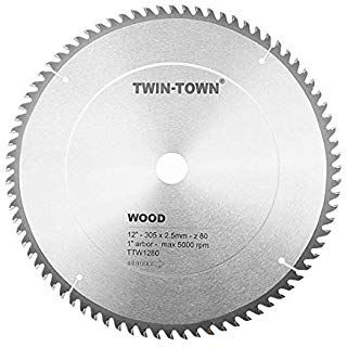 Twin Town 12 Inch Saw Blade 80 Teeth General Purpose For Soft Wood Hard Wood Plywood Atb Grind 1 Inch Arbor Circular Saw Blades Saw Blade Circular Saw