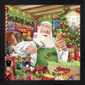 Santa Factory 1 By Ratru Framed Art Multi Christmas Art Vintage Christmas Cards Christmas Scenes