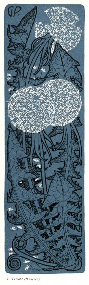 G. Petzold illustration for Jugend magazine 1904of dandelion puffs - beautiful art nouveau illustratoin