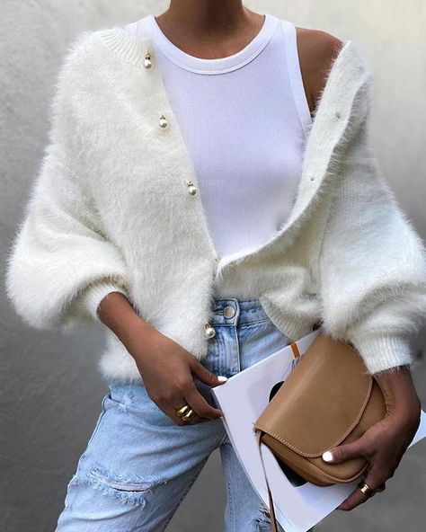 Button Design Lantern Sleeve Casual Sweater