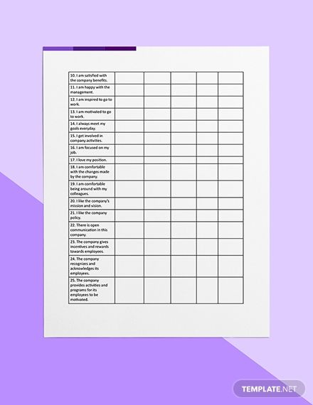 Employee Motivation Survey Template Word Doc Apple Mac Pages Google Docs Employee Motivation Survey How To Motivate Employees Survey Template