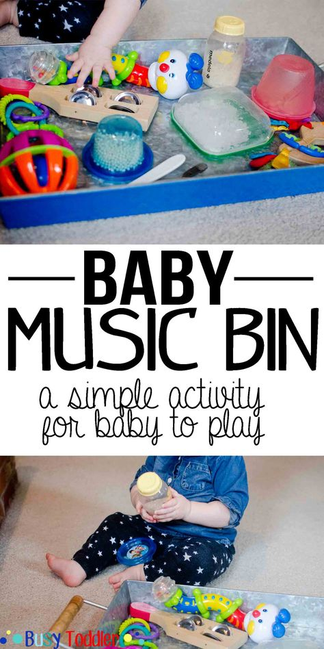 Baby Music Bin: a simple activity for baby to play.