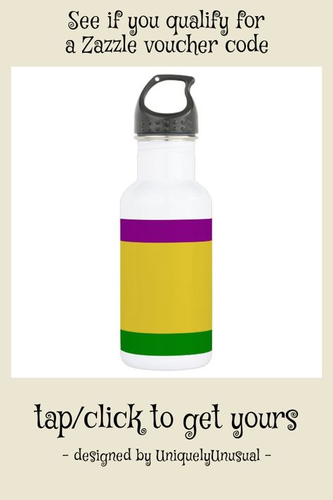 Mardi Gras Banner Water Bottle #mardi #gras #purple #yellow #gold #WaterBottle