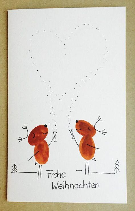 """Weihnachts-Karte Rentier """"Frohe Weihnachten"""""""