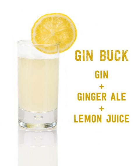 Three-Ingredient Cocktails You Should Know How To Make Gin Buck: Gin, Ginger Ale, Lemon Juice. 17 Three-Ingredient Cocktails You Should Know How To Make via Buck: Gin, Ginger Ale, Lemon Juice. 17 Three-Ingredient Cocktails You Should Know How To Make via Party Drinks, Cocktail Drinks, Alcoholic Drinks, Beverages, Ginger Ale Cocktail, Bartender Drinks, Gin Cocktail Recipes, Hey Bartender, Ginger Juice