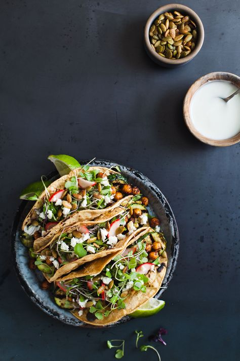 Mole-Spiced Chickpea + Grilled Zucchini Tacos | Snixy Kitchen