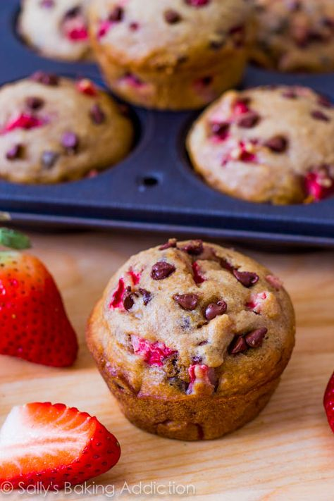 140 calorie and nearly fat-free Strawberry Chocolate Chip Muffins. One of my most popular recipes!