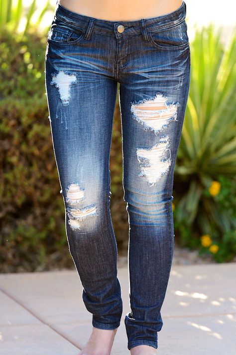 MACHINE Distressed Skinny Jeans - Double Dark Wash from Closet Candy Boutique