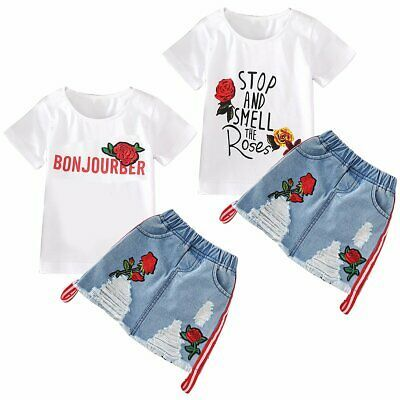 Toddler Kids Baby Girls Outfits Clothes Denim T-shirt Tops+Skirt Dress 2PCS Sets
