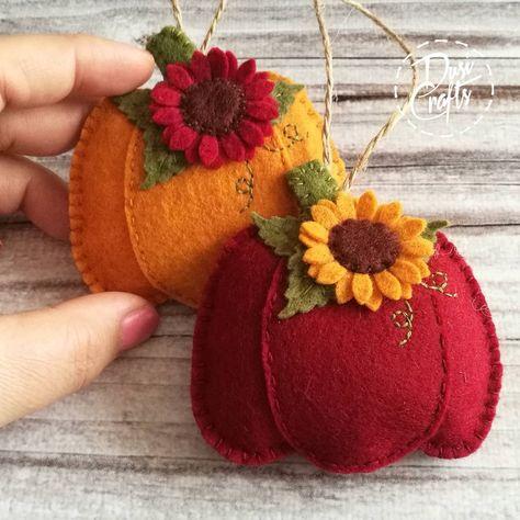 Pumpkin ornaments with Sunflower, Fall decorations, Autumn decor, Wool Felt ornament - 1 ornament Wool Applique Patterns, Felt Patterns, Felt Applique, Sewing Crafts, Sewing Projects, Felt Projects, Pumpkin Ornament, Wool Felt, Felted Wool