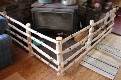 A New Birch Fence Around The Wood Stove Wood Stove Diy Wood Stove Wood Diy