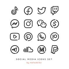 100 Essential Social Media & App Icons / iOS 14 App Icons / Minimalist Line / Black + Color versions / Fully Editable