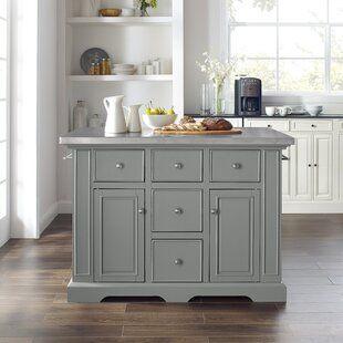 August Grove Almira Kitchen Island Kitchen Island With Granite Top Grey Kitchen Island Kitchen Design