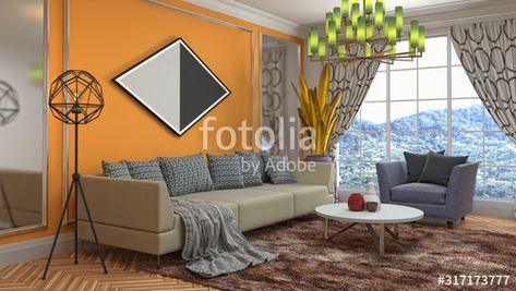 Interior of the living room. 3D illustration , #affiliate, #living, #Interior, #illustration, #room #Ad